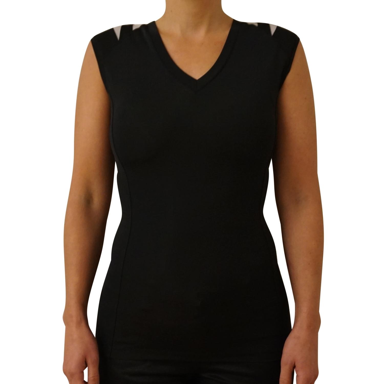 Dame Holdnings T shirt uden ærme sort str. XXS 3XL+